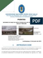 Informe de Viaje de Visita Técnica de Los Puentes La Leche, Vilela y Motupe