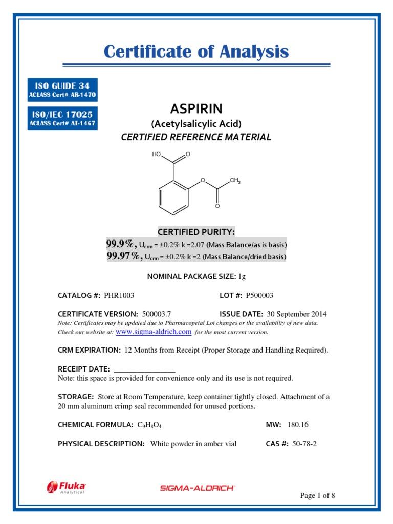 Aspirin Analysis Of Variance High Performance Liquid Chromatography