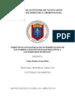 Directivas antagónicas de interpretación de las normas constitucionales relativas a los derechos humanos