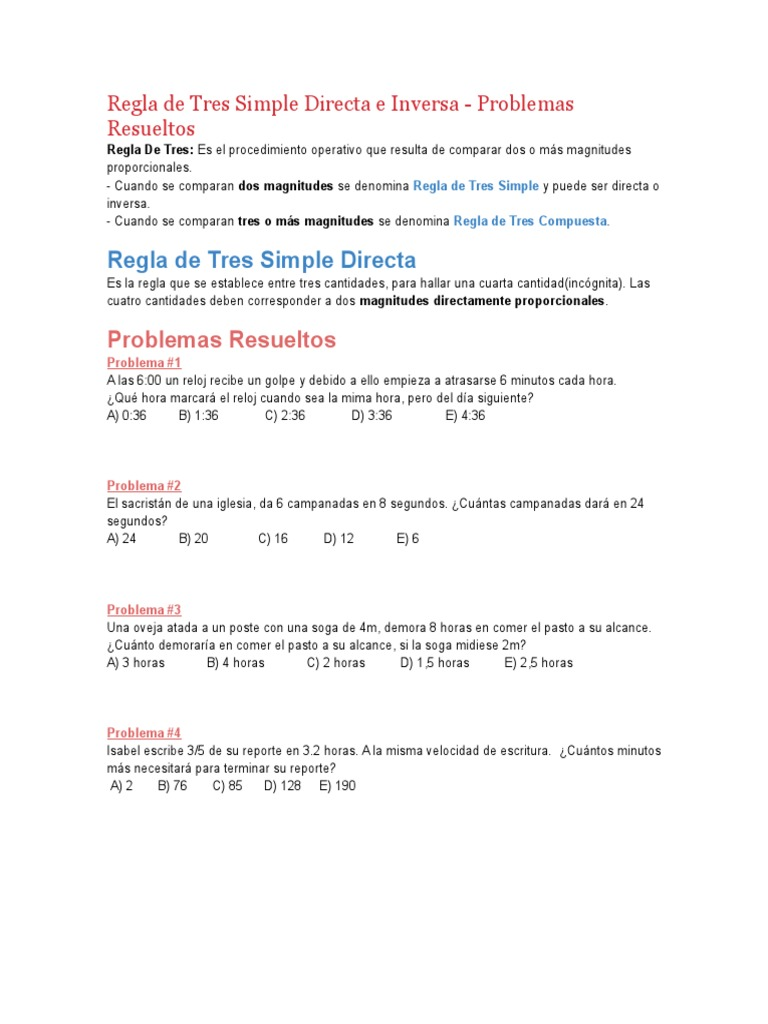 Regla De Tres Simple Directa E Inversa álgebra Aritmética