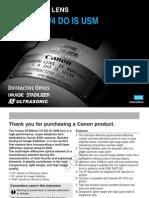 Canon Ef 400mm f 4.0 Do is Usm Lens