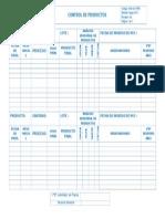 Formato de Registro de Productos en Proceso y Analisis de Productos