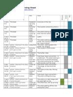 Music Video Planning Sheet