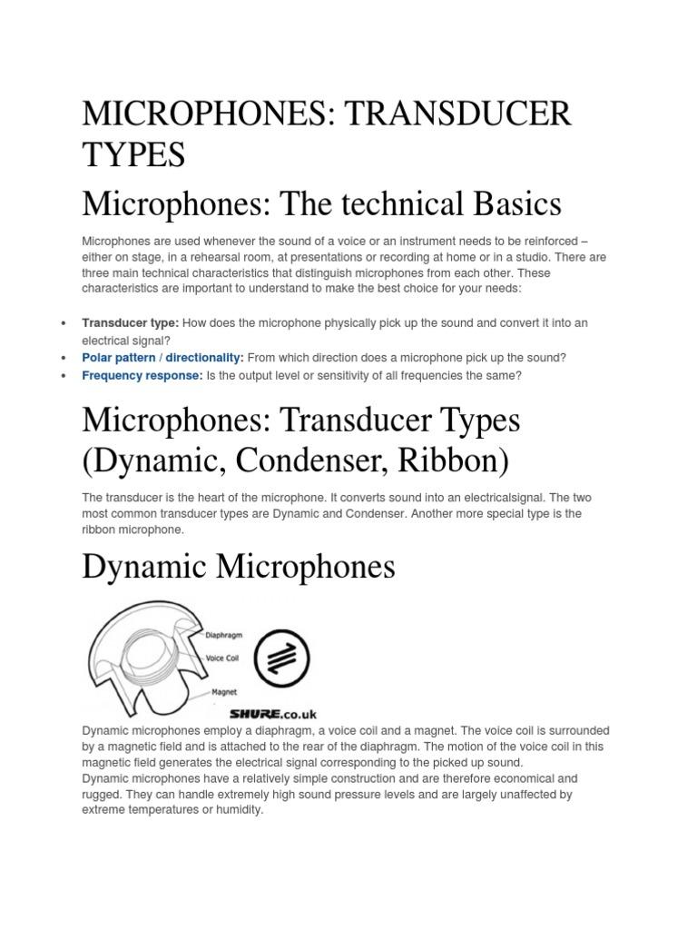 Mic Basics Microphone Signal Processing Condenser Ribbon Diagram