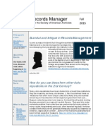 The Records Manager Newsletter, Fall 2015 issue