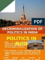Decriminalization Of Politics in India