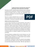 """Ensayo Relación entre epistemología, ciencias cognoscitivas y aprendizaje"""""""