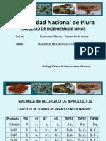 Balance Metalurgico de 4 Productos