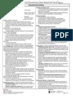 Preventive Care Checklist Form Explanations