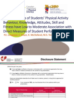 Teacher Ratings of Students' Physical Activity Behaviour, Knowledge, Attitudes, Skill and Fitness have Low to Moderate Association with Direct Measures of Student Performance