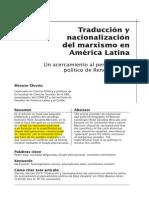 Traducción y Nacionalizaión Del Marxismo en América Latina - Hernán Ouviña
