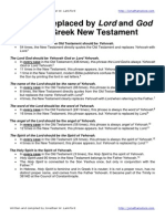 Yehovah Replaced by Lord and God in the Greek New Testament