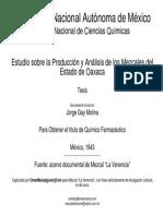 Estudio sobre la producción y análisis de los mezcales del estado de Oaxaca