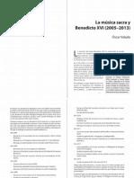 VALADO, O., La música sacra y Benedicto XVI (2005-2013), Liturgia y Espiritualidad (marzo 2013)