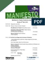 Manifesto for Theatre Conference Agenda M4TC10