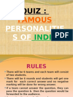 QUIZ- Famous Personalities of India (PPT)