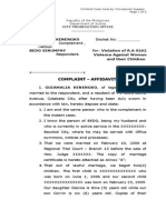 Sample Complaint Affidavit for Violation of RA 9262.doc