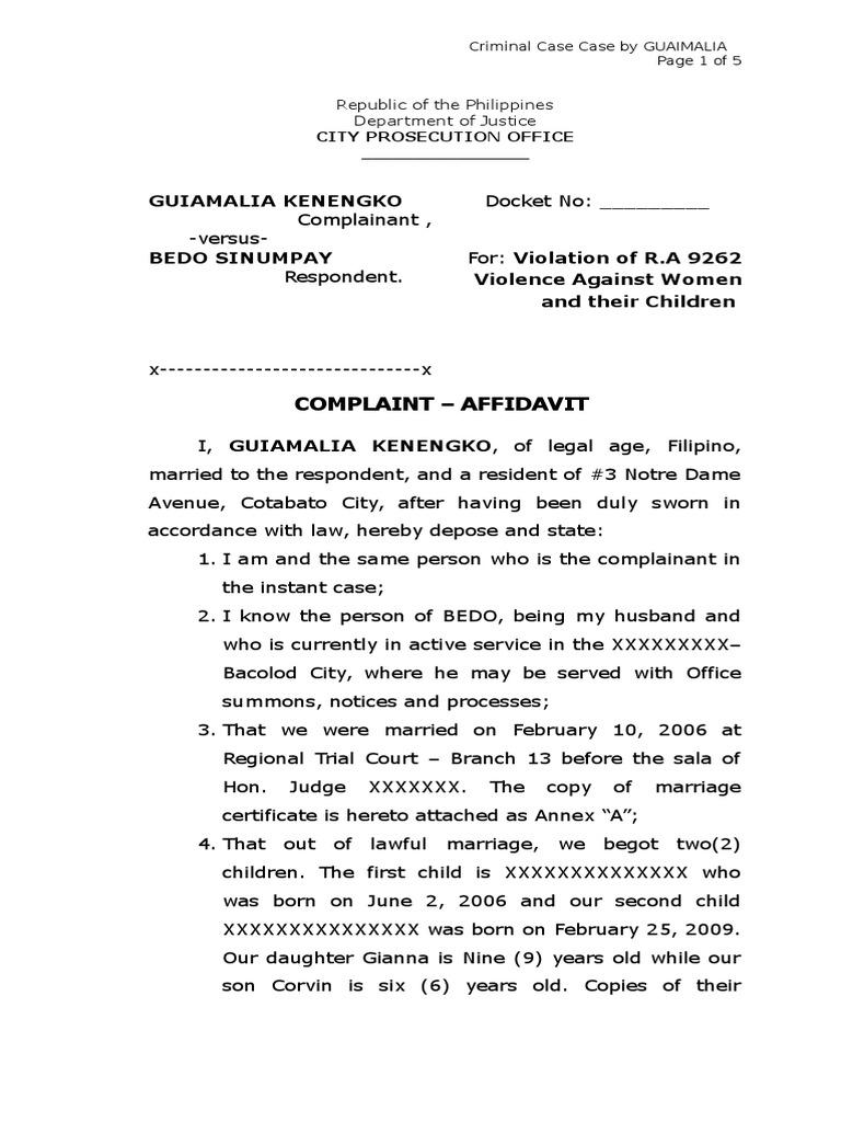 Sample Complaint Affidavit For Violation Of Ra 9262 Marriage