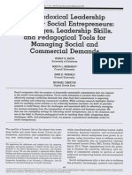 A Paradoxical Leadership Model for Social Entrepreneurs Challenges, Leadership Skills, And Pedagogical Tools for Managing Social and Commercial Demands