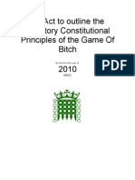 An Act to Outline the Statutory Constitutional Principles of the Game of Bitch (Prologue and Section 1 only)