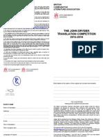 Bcla John Dryden Translation Competition 2015 2016 Entry Form