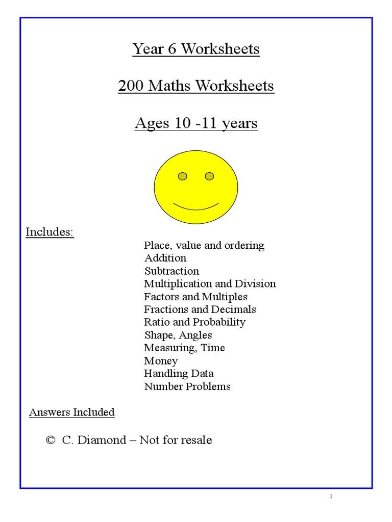 Year 6 Maths Worksheets | Fraction (Mathematics) | Lexicology