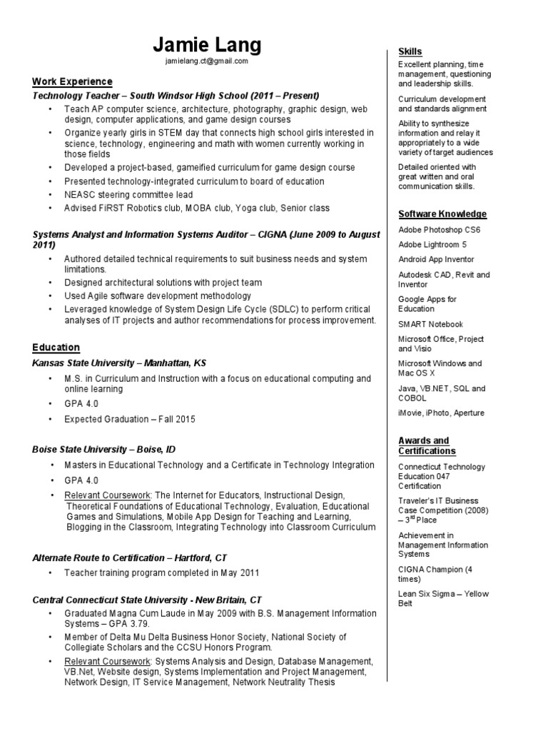 Jamie Lang Resume Educational Technology Design