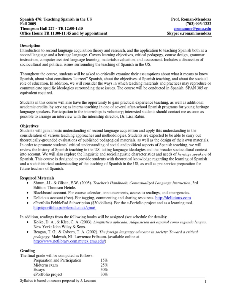 SPAN 476: Teaching Spanish in the US | Second Language Acquisition |  Pedagogy