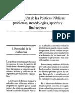 La Evaluacion de Politicas Publicas Problemas, Metologias, Problemas y Aportes