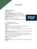 Lesson Plan - Total Physical Response