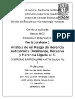 Análisis de un Rasgo de Herencia Autosómica Dominante, Recesiva y Herencia Ligada al X.