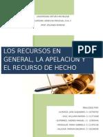 Trabajo d. Procesal Civil II. Recursos en General, Apelacion y Recurso de Hecho