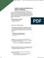 3 formas de cambiar la dirección MAC de una computadora en Windows