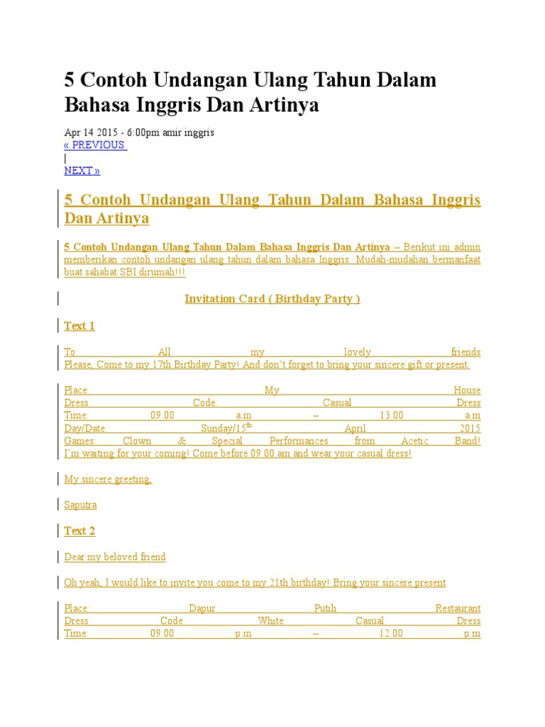 5 contoh undangan ulang tahun dalam bahasa inggris dan artinyac stopboris Image collections