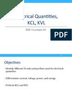 Electrical Quantities, KCL, KVL