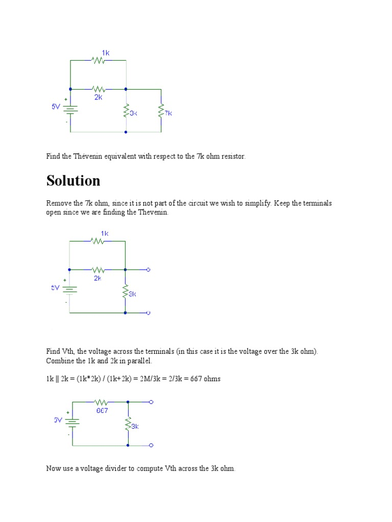 Find The Thvenin Equivalent With Respect To 7k Ohm Resistor Is Thevenin Circuit B Series And Parallel Circuits Electrical Network