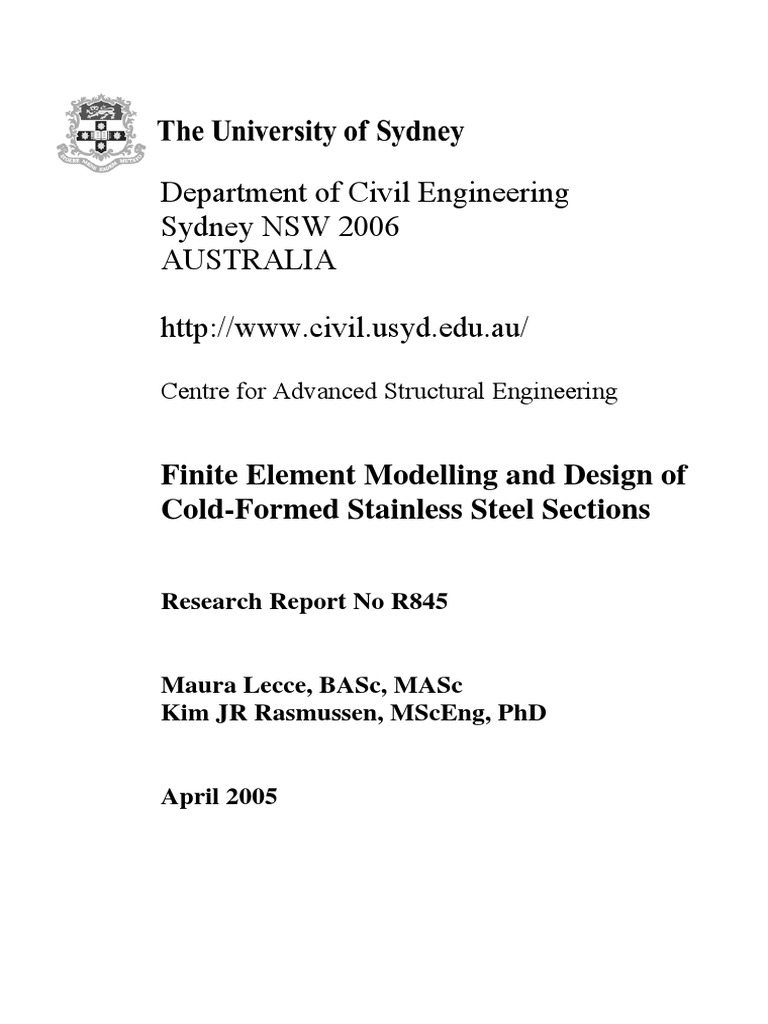 Finite Element Modelling and Design of Cold-Formed Steel