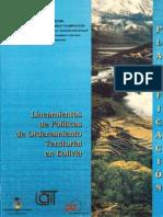 Lineamientos de POLITICAS -Ordenamiento-territorial en BOLIVIA