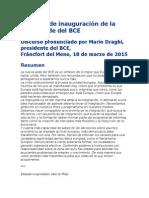 Discurso de Inauguración de La Nueva Sede Del BCE