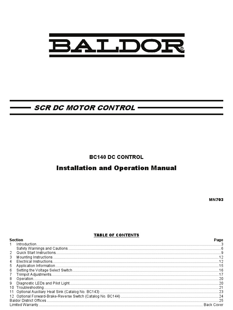 Baldor Bc140 Installation Operation Manual Alternating Current Brake Motor Wiring Diagram Fuse Electrical