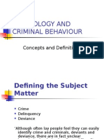Psychology and Criminal Behaviour Definitions1