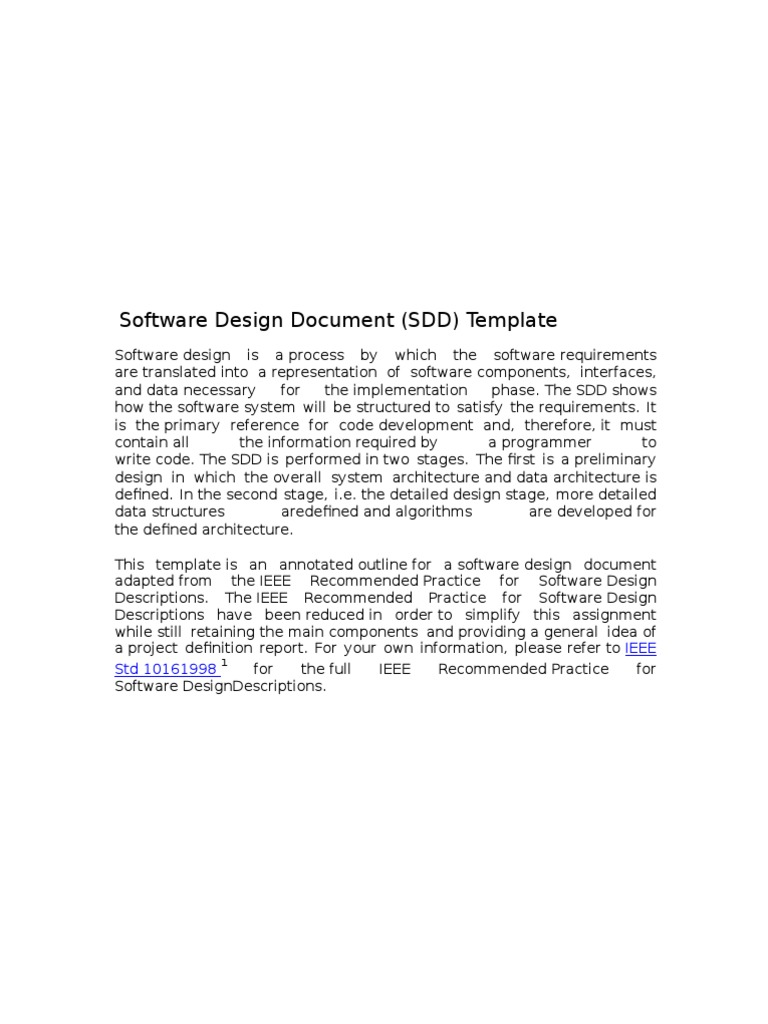 Ieee Sdd Software Design System Free 30 Day Trial Scribd