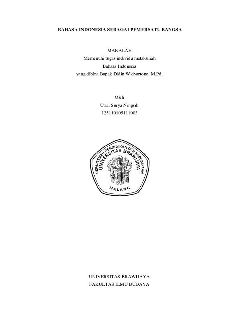 Bahasa Indonesia Sebagai Pemersatu Bangsa Pdf