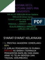 Biasiswa Kecil Persekutuan (Bkp) Pra Universiti