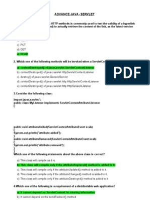 Smaple Questions Advance Java-servlets | Java Servlet | Software