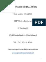 Progranació General del CEIP Mestre Guillemet curs 2015-2016