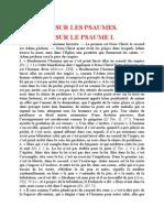 Saint Augustin - Discours sur les psaumes Discours Sur Le Psaume 1