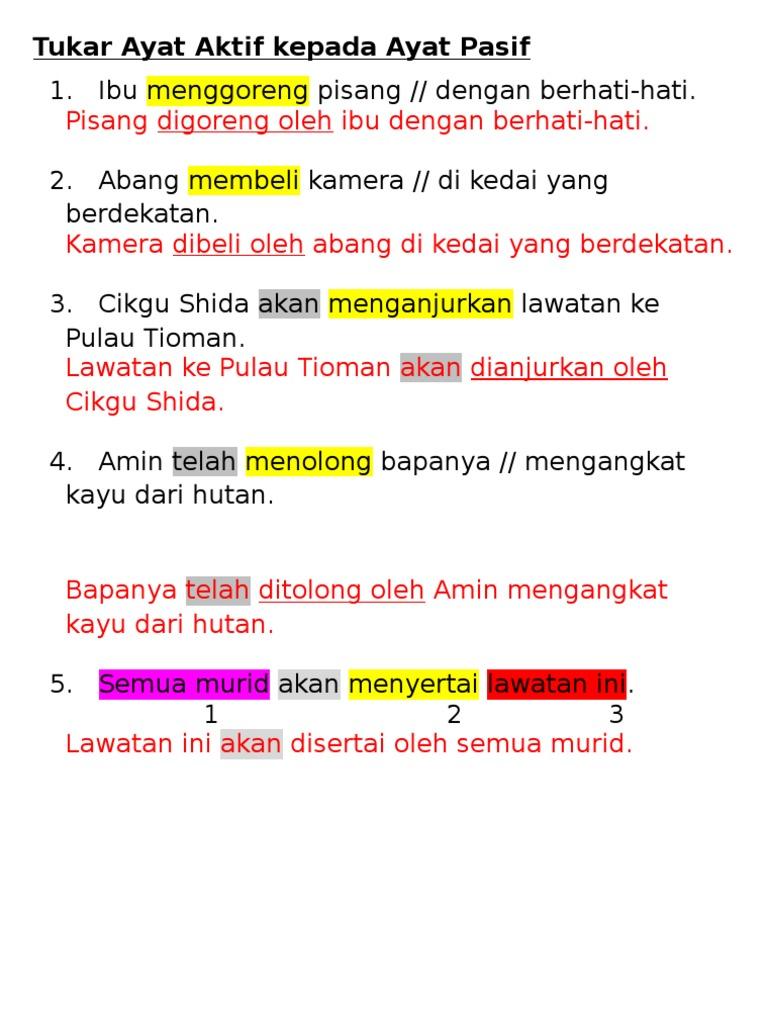 Ayat Aktif Dan Ayat Pasif Pt3