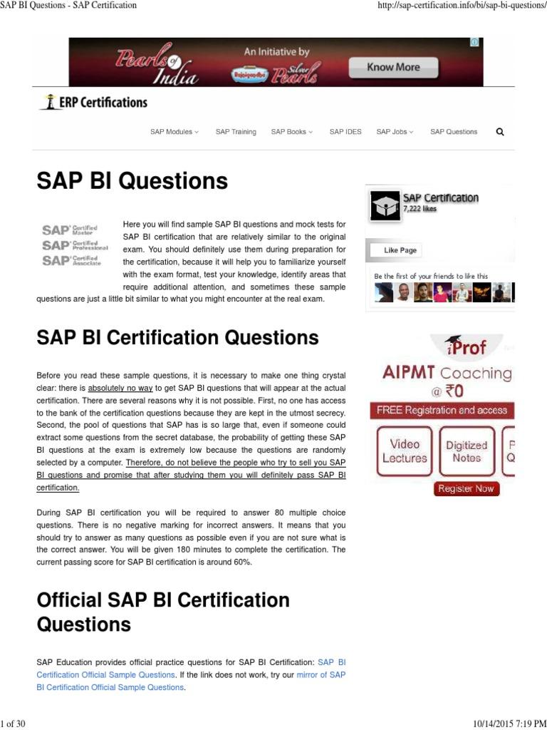Sap Bi Questions Sap Certification C Programming Language
