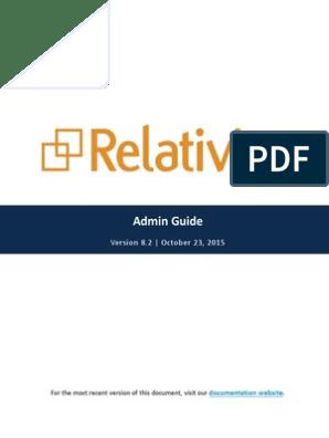 Relativity - Admin Guide - 8 2 pdf | Tab (Gui) | Library